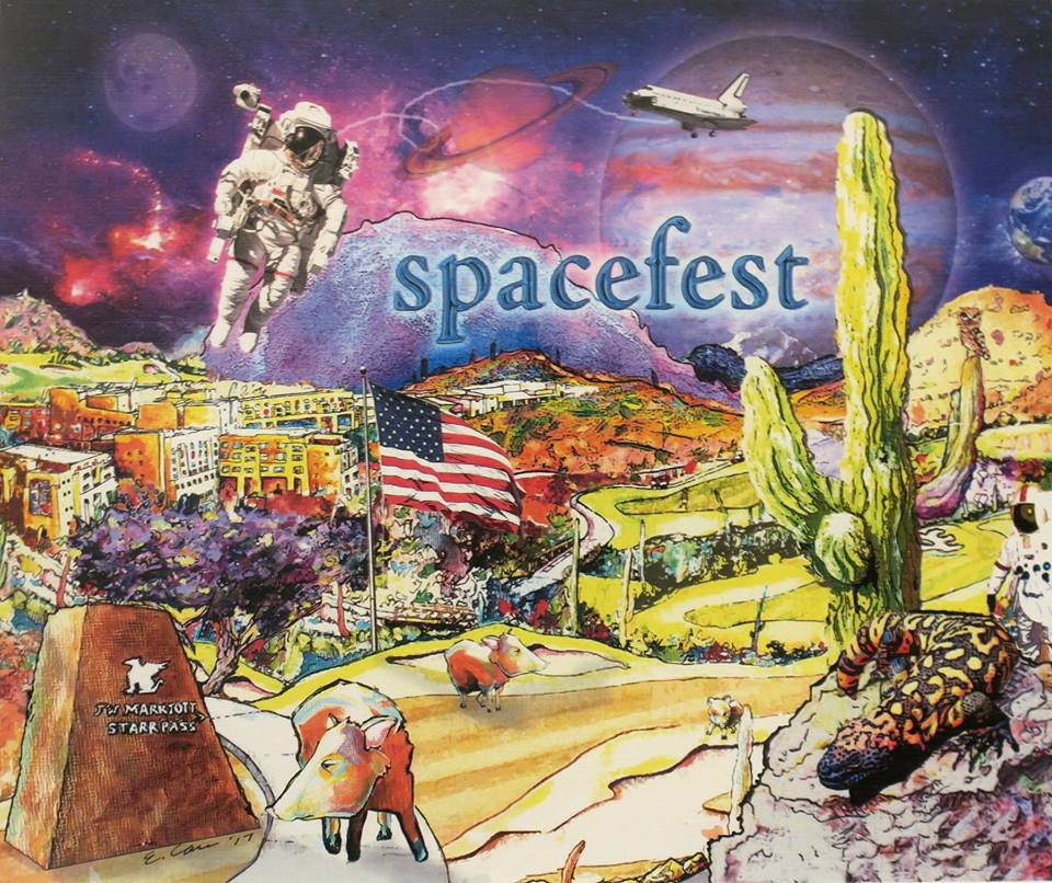 """Tuscon artist Eddie Carr captures the many aspects of Spacefest, held at the JW Marriott Starr Pass Resort & Spa, in this piece called """"Spacefest in the Desert.""""   Artist credit: Eddie Carr."""