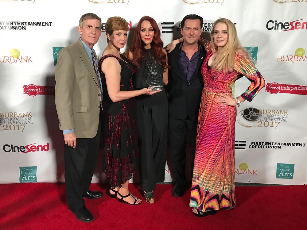 "Accepting the Burbank Film Festival Award for ""Star Trek Continues"" from left; Tim Vittetoe, Lisa Hansell, Michele Specht, James Kerwin, and Kipleigh Brown."