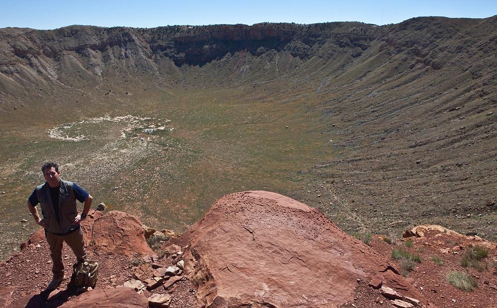 Meteorite specialist Geoff Notkin at Meteor Crater in Arizona (photo by Stu Jenks).