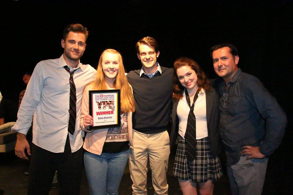 "At the Blank Theatre Company's ""Young Playwrights Festival"" from left; Luke Benward, Dana Hensler, Nick Cardiff, Jennifer Stone, and James Kerwin (photo by Annie McGrath)."