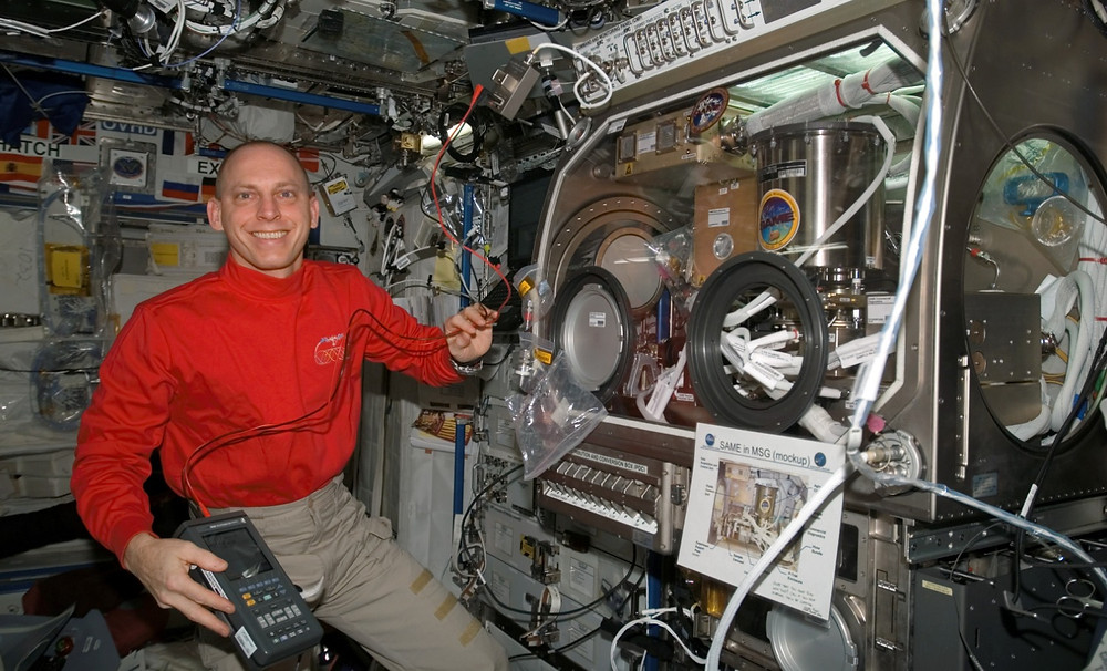 NASA astronaut Clayton C. Anderson serving as Expedition 15 flight engineer on the International Space Station.  Photo credit: NASA.