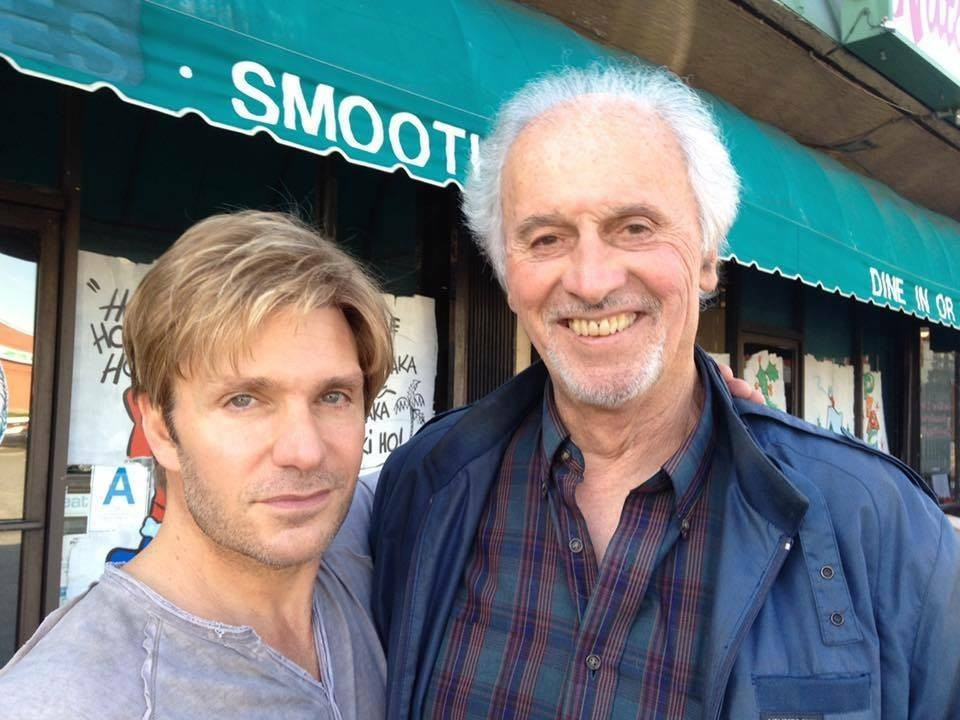 "Executive Producer Vic Mignogna (left) meets with Michael Forest (right) to discuss reprising his role as Apollo for Episode 1 of ""Star Trek Continues,"" called ""Pilgrim of Eternity"" (photo © Trek Continues, Inc.)"
