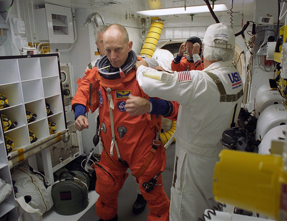Astronaut Clayton C. Anderson getting prepared to launch to space on the Space Shuttle.  Photo credit: NASA.