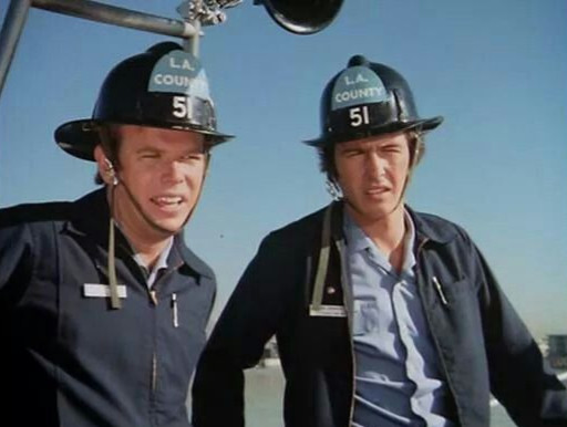 """Actors Kevin Tighe (left), as Paramedic Roy DeSoto and Randolph Mantooth, as Paramedic John Gage from the NBC Television's show """"Emergency!"""""""