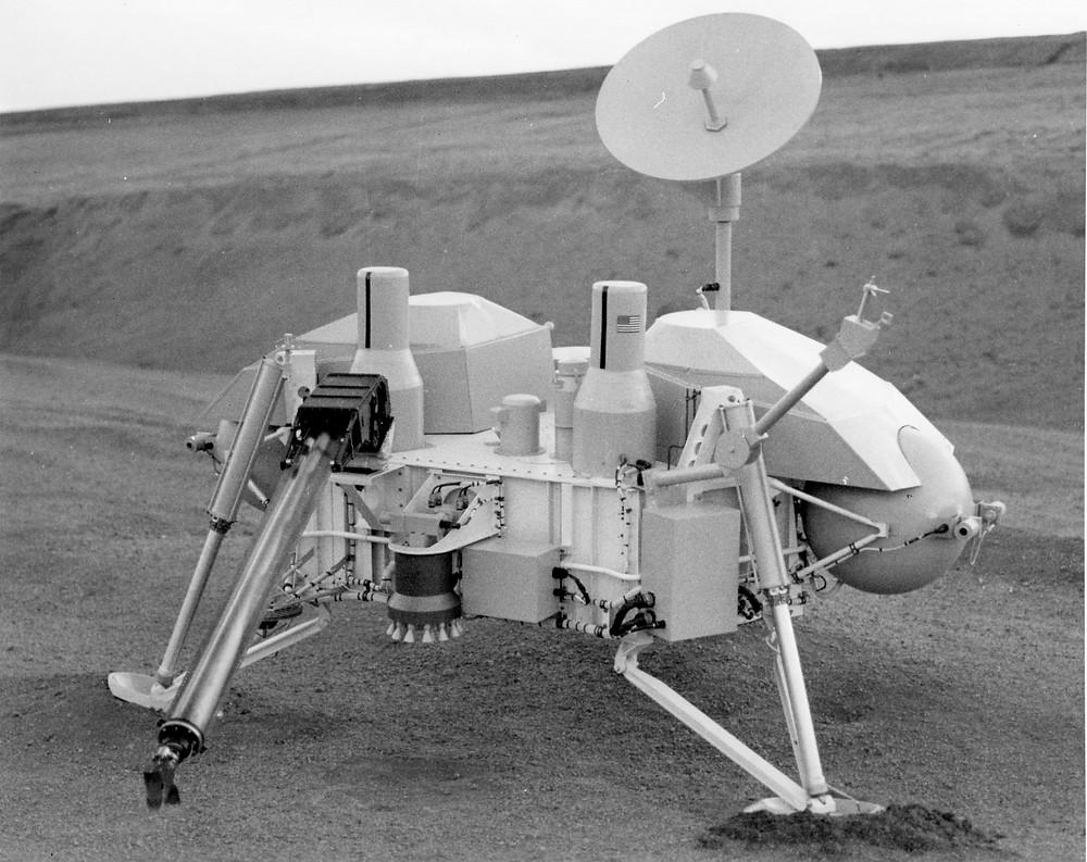 Mockup of Viking Lander taken at Chatfield Dam in 1973.   Photo credit: © The Viking Mars Missions Education & Preservation Project (VMMEPP) and NASA.