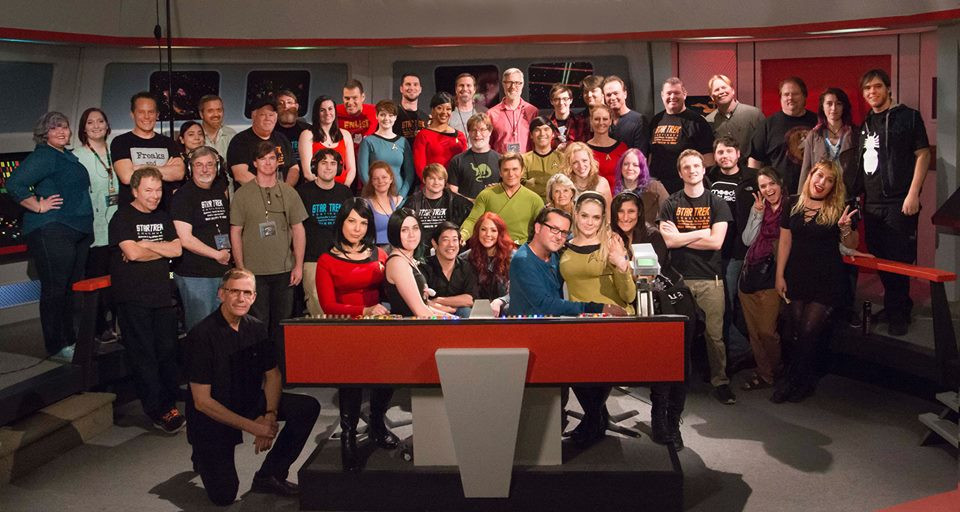 "Cast and Crew on the set of the multi-award-winning web series ""Star Trek Continues"" (photo © Trek Continues, Inc.)"