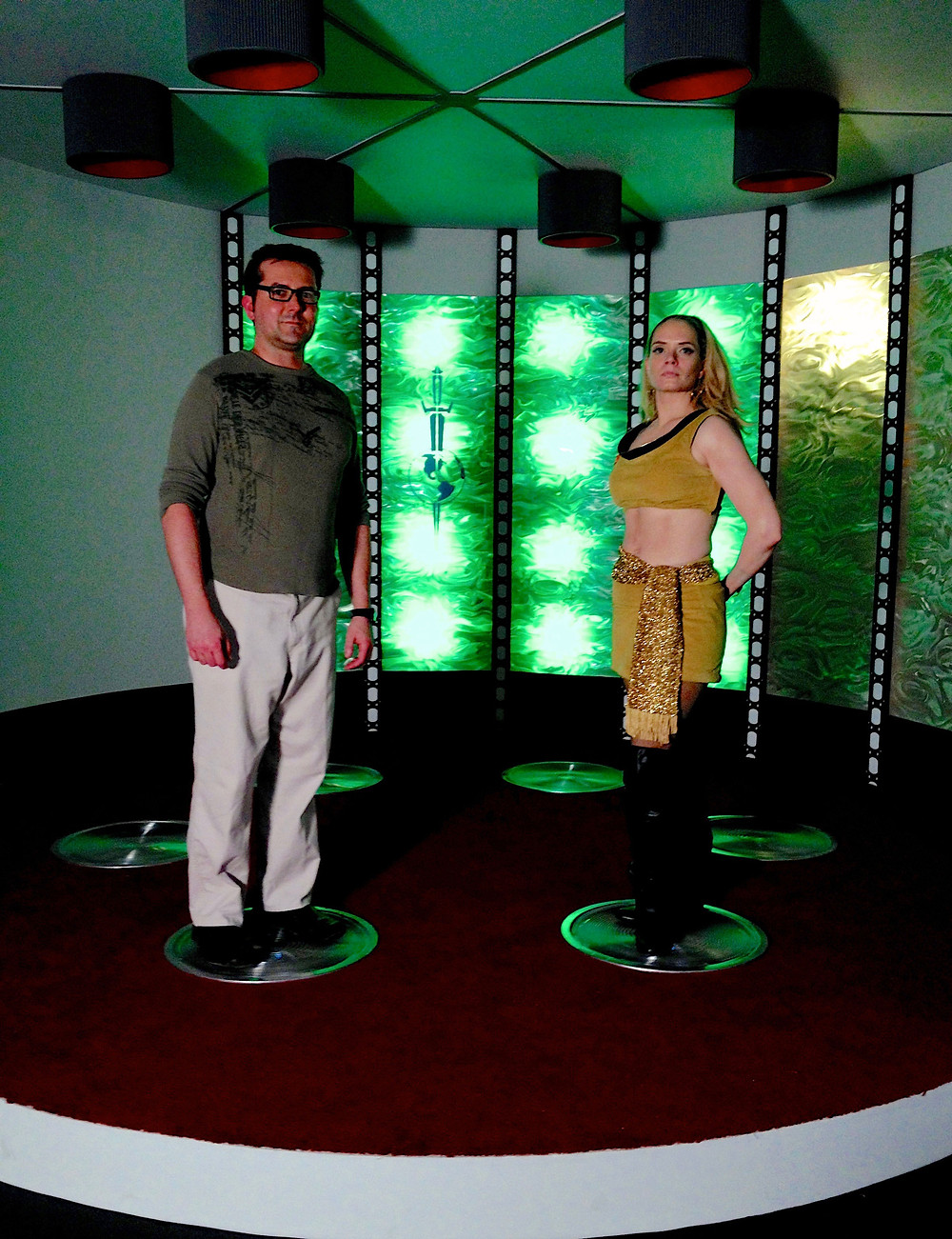 """On the set for Episode 3 of """"Star Trek Continues,"""" called """"Fairest of Them All,"""" with actress Kipleigh Brown."""