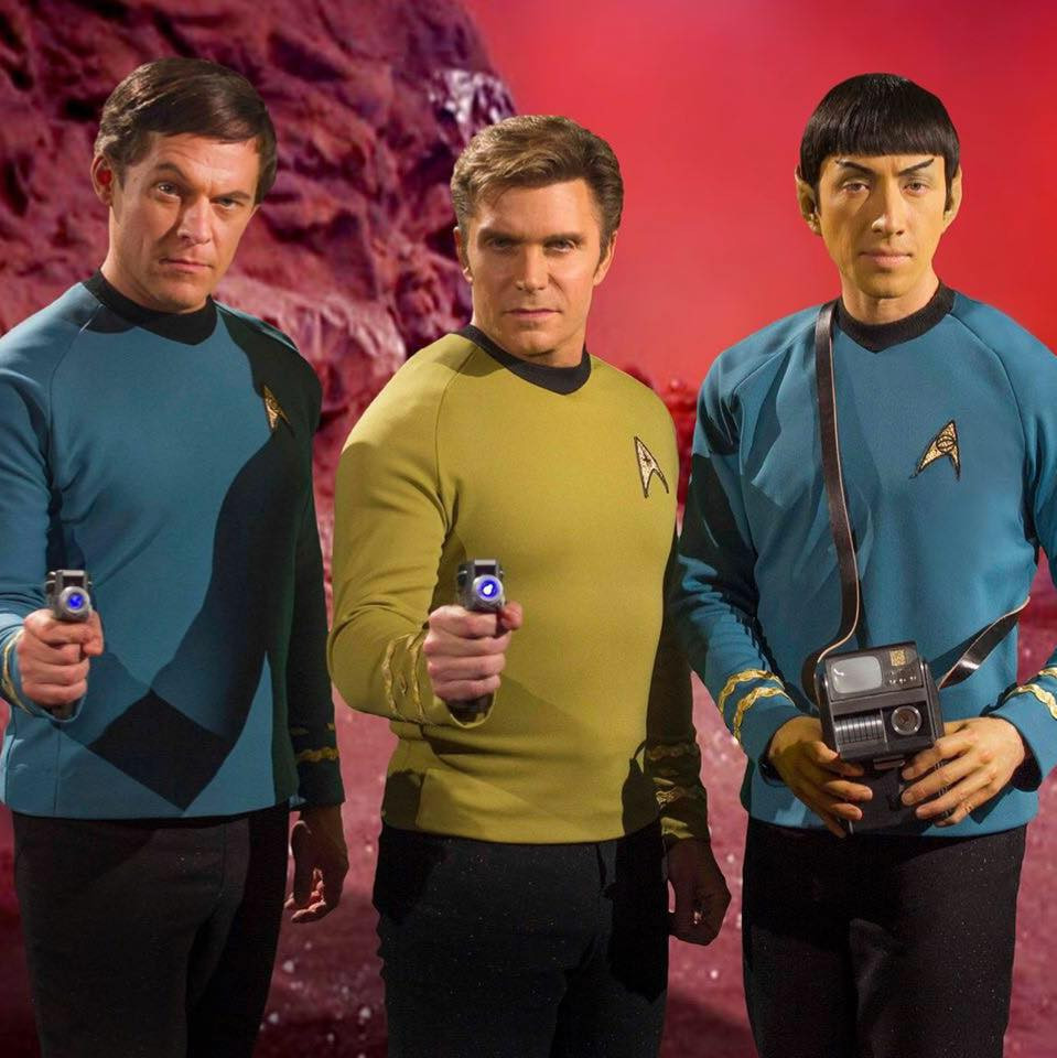 "Co-stars of ""Star Trek Continues"" (from left) Chuck Huber as Doctor Leonard H. McCoy, Vic Mignogna as Captain James T. Kirk, Todd Haberkorn as Commander Spock (photo © Trek Continues, Inc.)"
