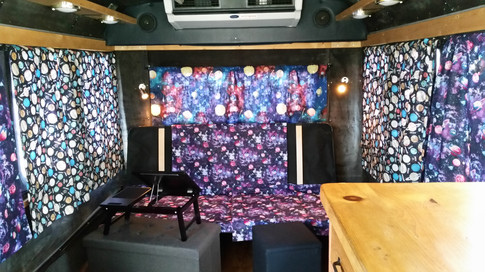 """Interior of """"Buster"""" the Viking Mars Mobile where Rachel Tillman lived for two months while on the road conducting oral history interviews for VMMEPP.  Photo credit: (c) The Viking Mars Missions Education & Preservation Project (VMMEPP)."""