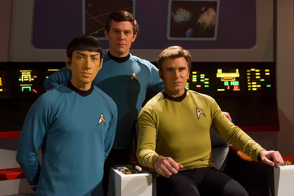 "Co-stars of ""Star Trek Continues"" (from left) Todd Haberkorn as Commander Spock, Chuck Huber as Doctor Leonard H. McCoy, Vic Mignogna as Captain James T. Kirk (photo © Trek Continues, Inc.)"