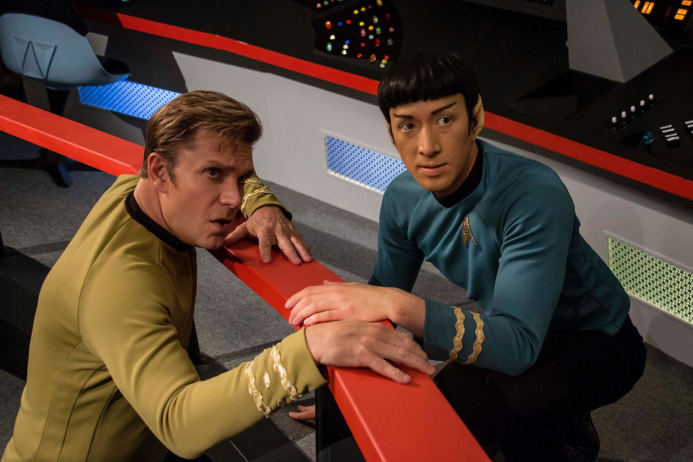 "Actors Vic Mignogna as Captain James T. Kirk (left) and Todd Haberkorn as Mr. Spock (right) during a scene in ""Star Trek Continues"" (photo © Trek Continues, Inc.)"