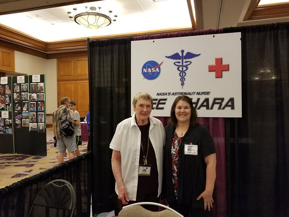 Nurse to NASA's first astronauts, Dee O'Hara (left), with Discover Con Inspiring Figures Senior Writer, Becca Gladden, at Spacefest IX in Tucson, AZ.  Photo courtesy of Spacefest by Novaspace Galleries.