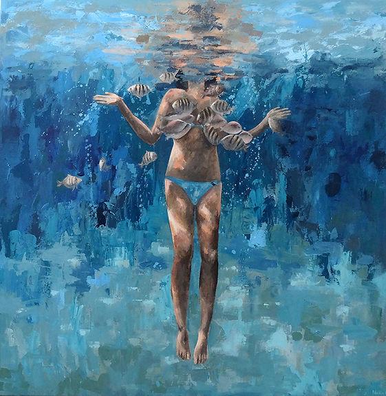 Nadia Rapti painting swimmer