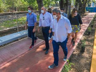 """Juan Andreotti y directivos de Trenes Argentino salieron a probar el Paseo Aeróbico """"Mansilla"""""""
