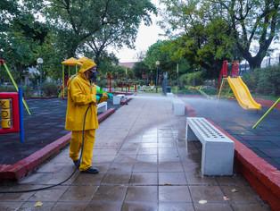Vicente López contra el COVID: desinfección en espacios públicos