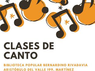 Clases de canto en la Biblioteca Rivadavia de Martínez