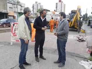 Moreira y Katopodis supervisaron las obras de la Av. Presidente Perón