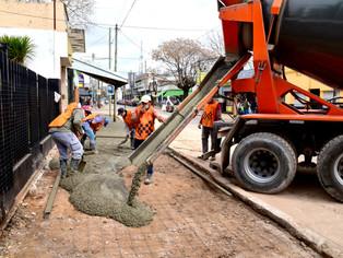 San Martín no se detiene por el COVID: obras en el Centro Comercial Lamadrid, V. Ballester