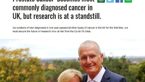 Prostate cancer becomes most commonly diagnosedcancer in UK, but research is at a standstill