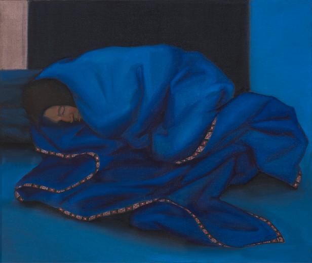 Lonely people series. Blue blanket.