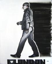 Step 1. He's walking, he's smoking,