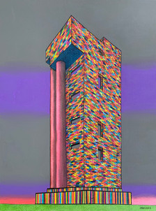 A tower and two pillars.