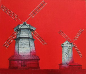 Red windmills. Suzdal.