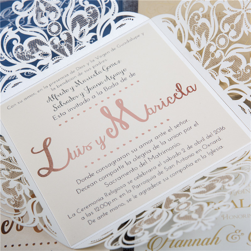 Find out more about this rose gold foil invitation with laser cut pockets.