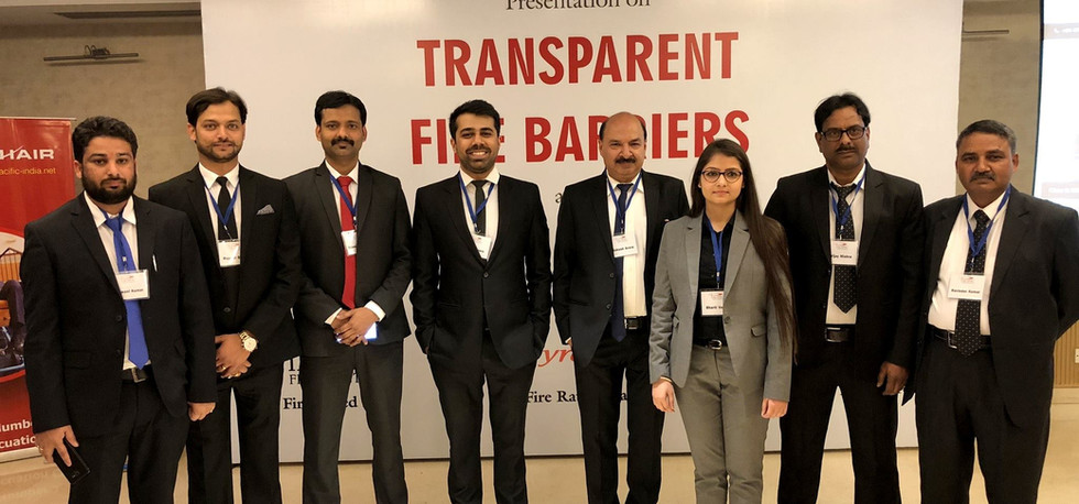 Our founder and director, Mr Rakesh Kumar Arora, with his team for a seminar conducted on 'transparent fire barriers'