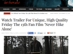 'Never Hike Alone' Trailer Featured on Fridaythe13thfranchise.com