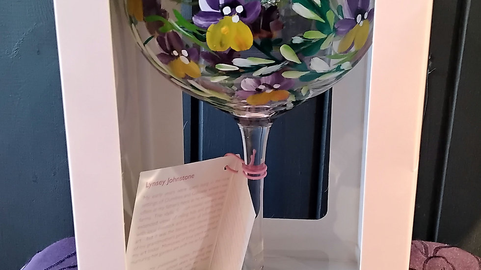 Pansy hand painted gin glass.