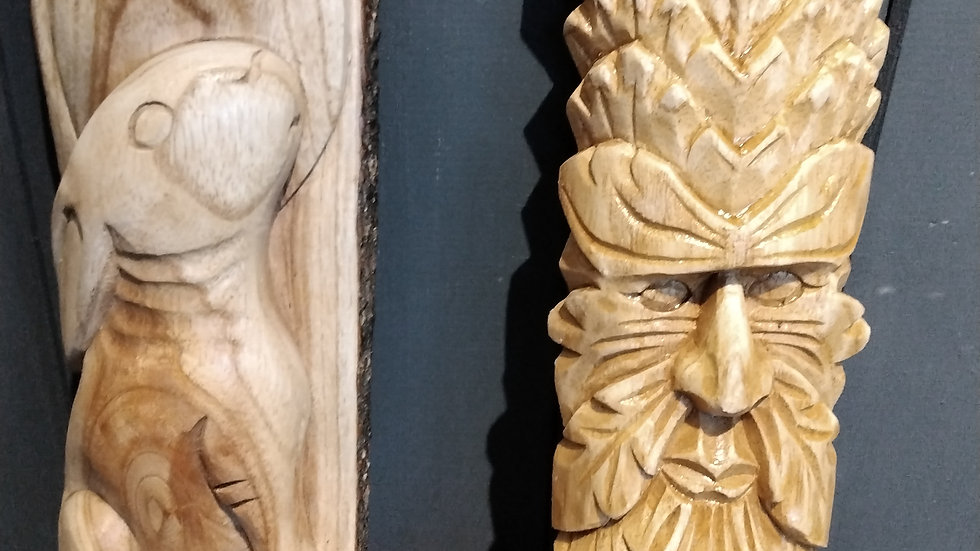 Hand carved wall hanging.