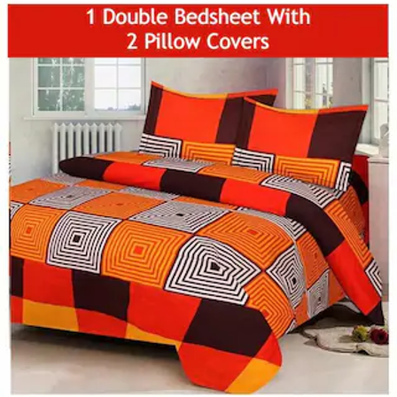 JBG Home Store Microfibre 1 Double Bedsheet with 2 Pillow Covers