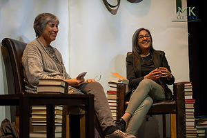 Preti Taneja (r) with Umi Sinha (l) at MK Lit Fest