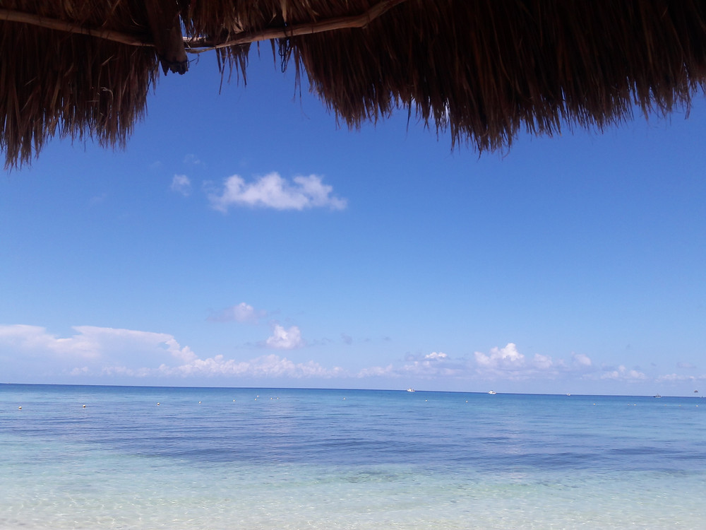 The Caribbean Sea from a palapa