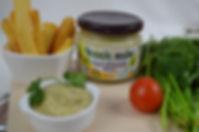 Biologische Vegane Bearnaise Mayonaise/Soße, gemacht mit Aquafaba und Estragonaise Sauce made with Aquafaba