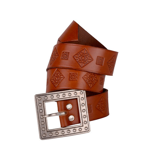 Hand engraved Womens' Spanish Leather Belt