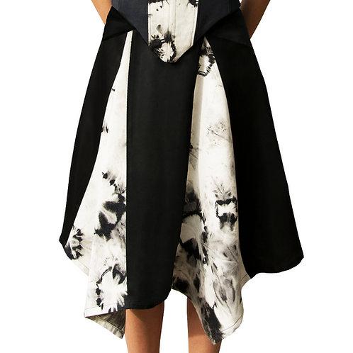 Acuarela Negra Godet Skirt