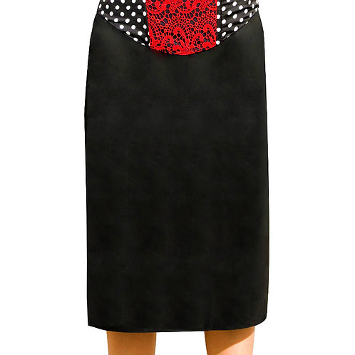Pasion Roja Pencil Skirt with red lace godet