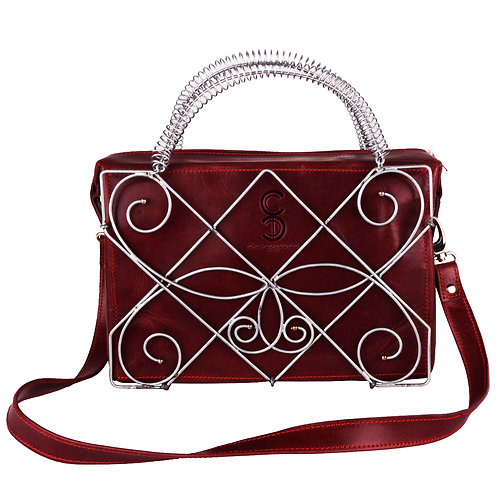 Sculpture Encased Leather Bag - Chrome Plated