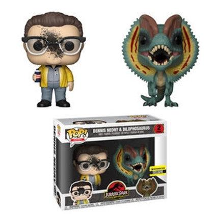 Funko POP! Jurassic Park -Dennis Nedry and Dilophosaurus no sticker 2pack