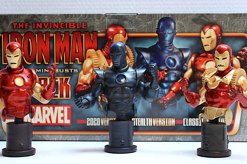 Bowen Designs 3pack Iron Man mini bust 2020, Stealth and Classic