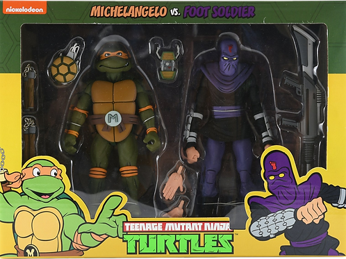 "Neca TMNT 7"" Michelangelo vs Foot Soldier 2 pack"