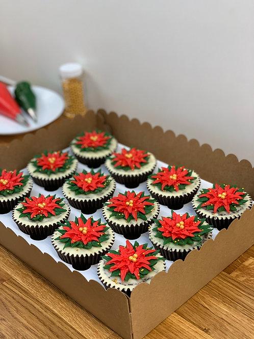 12x Christmas poinsettia cupcakes