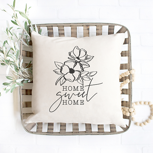 Home Sweet Home Floral Pillow Cover
