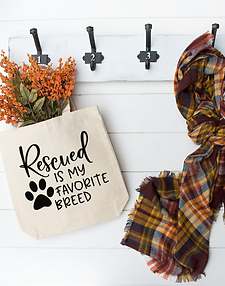 Canvas Tote - Rescued is My Favorite Breed