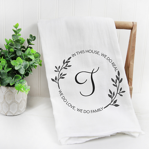 Personalized Monogrammed Family Flour Sack Towel