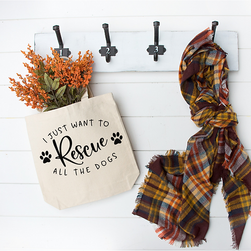 Canvas Tote - Rescue All The Dogs