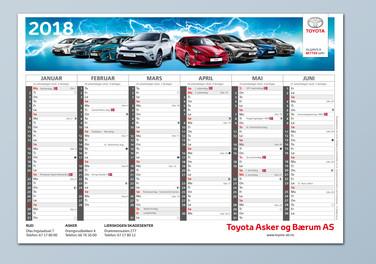 Bordkalender Toyota 10 avdelinger