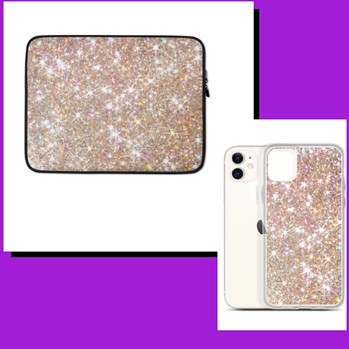 Glitter World Phone Case and Laptop Sleeve Duo